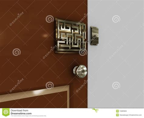 doors with lock maze with a chain stock photos image 13283903