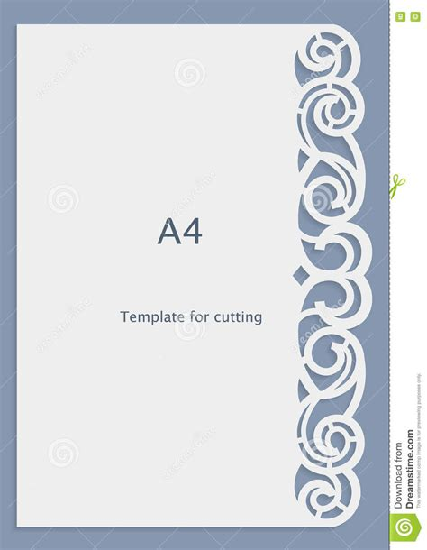 A4 Paper Lace Greeting Card Wedding Invitation White Pattern Cut Out Template Stock Vector Card Cut Out Template