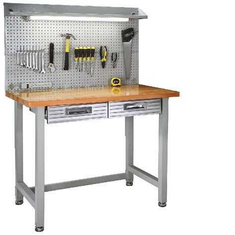 garage work table garage lighted workbench wood top steel frame work table