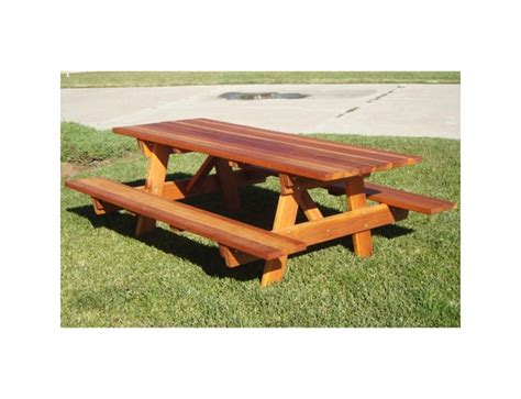 Best Redwood Picnic Table With Attached Benches
