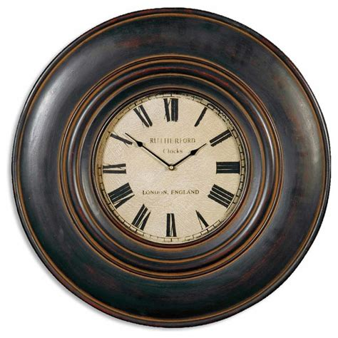traditional wall clock uttermost adonis 24 inch wooden wall clock traditional