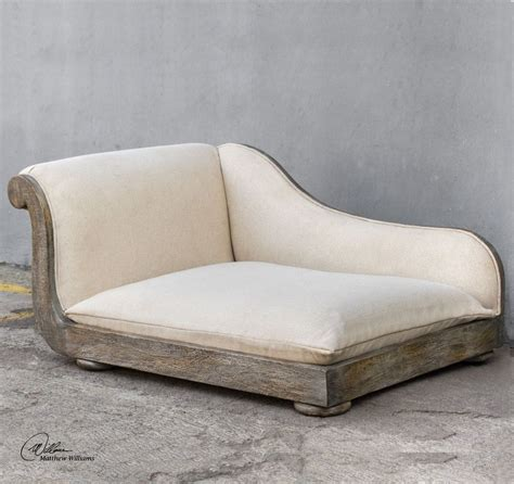 pet chaise off white antique style dog chaise bed plush wood pet
