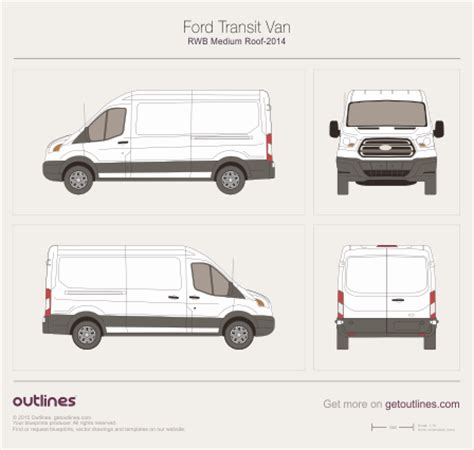 2013 Ford Transit Drawings Outlines Ford Transit Vector Template