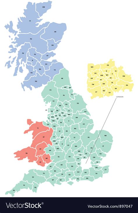 vector map of the uk royalty free stock images image 4213469 postcode map of uk royalty free vector image vectorstock