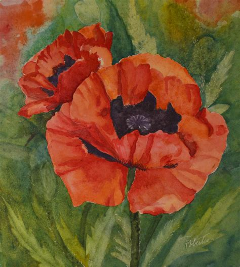 floral watercolor painting orange poppies