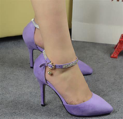 Womens Pointed Stiletto Suede Korean Pumps With Rhinestone Black purple rhinestone high heels promotion shop for