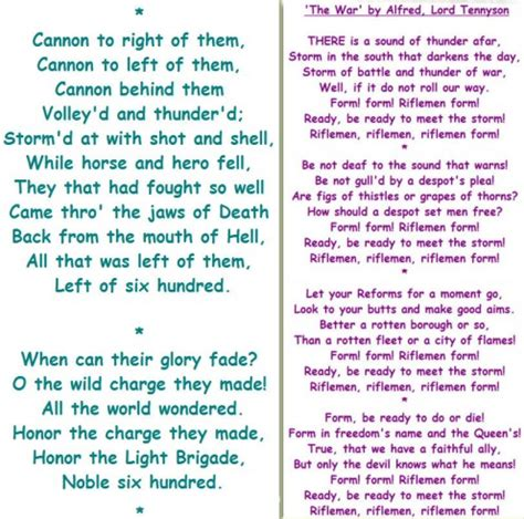 charge of the light brigade war tennyson and the charge of the light brigade poetry