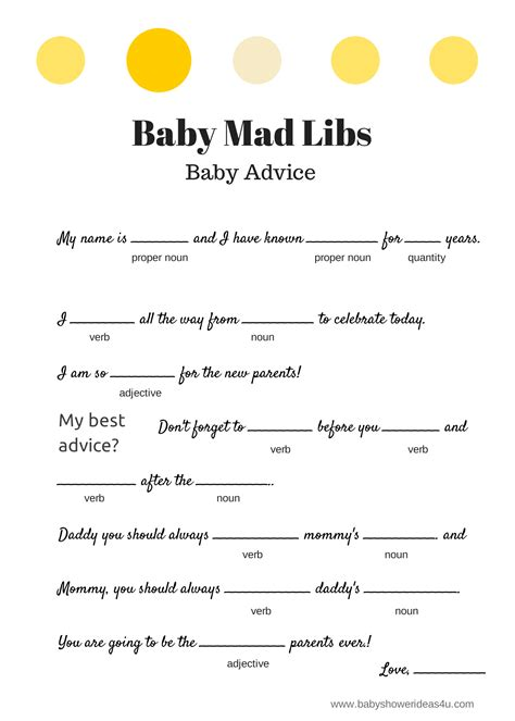 Mad Libs Baby Shower Printable free baby mad libs baby advice baby shower ideas