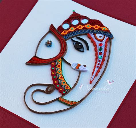 order handmade paper quilling lord ganesha framed