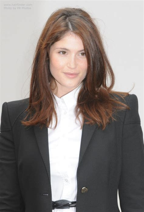 hairfinder front and layer gemma arterton wearing a button front blouse with buttoned