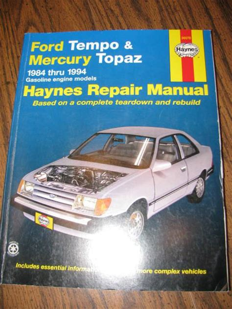 service manual 1988 mercury topaz vvti engines repair sell 1984 1994 haynes repair manual ford tempo mercury topaz motorcycle in lebanon tennessee