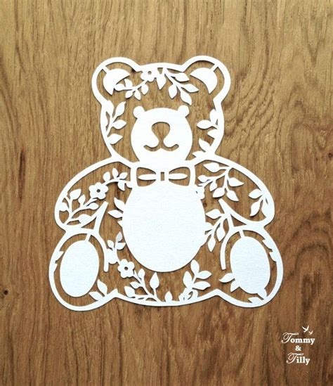 papercutting templates 3 x teddy svg pdf designs papercutting vinyl