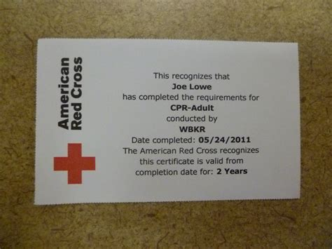 American Cross Card Template by Cross Cpr Certification Card Template