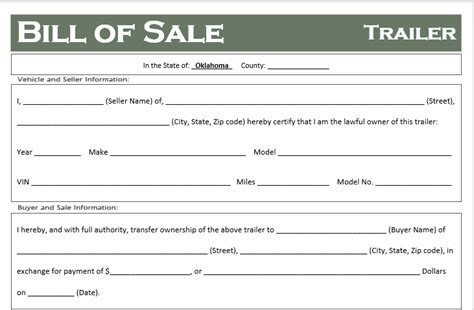 Free Oklahoma Trailer Bill Of Sale Template Off Road Freedom Auto Bill Of Sale Oklahoma Template