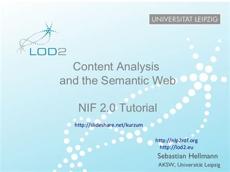 web 2 0 tutorial nif 2 0 tutorial content analysis and the semantic web