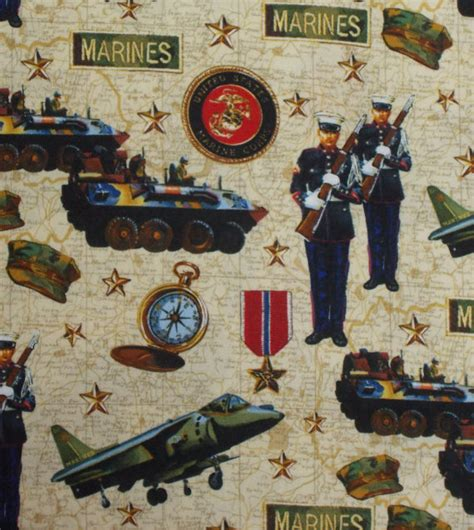 Marine Corps Fabric Quilting by Destash 1 Yard Robert Kaufman U S Marine Corps Quilt Fabric