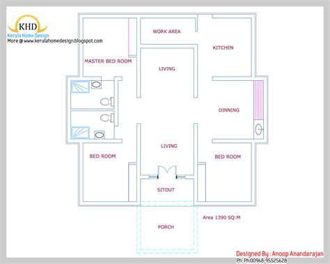 1000 Sq Ft House single floor house plan and elevation 1390 sq ft