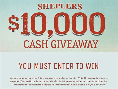 Cash Giveaways And Sweepstakes - sheplers com cash giveaway sheplers 10 000 cash giveaway sweepstakes pit