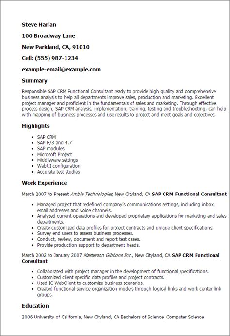 sap crm functional consultant templates 1 sap crm functional consultant resume templates try them now myperfectresume