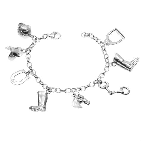 charm bracelet 8 charms 925 sterling silver