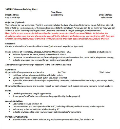 Resume Templates For Internships by 8 Internship Resume Templates Pdf Doc Free Premium