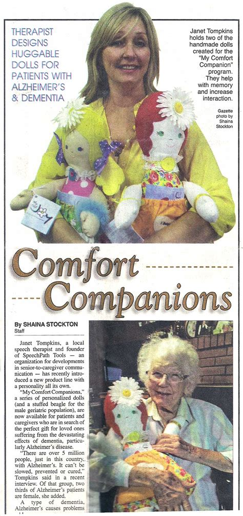 Comfort Companions by Therapist Designs Huggable Dolls For Patients With Alzheimer S Comfort Companion