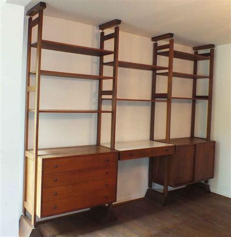 mid century modern shelving mid century modern teak wall shelving system ebth
