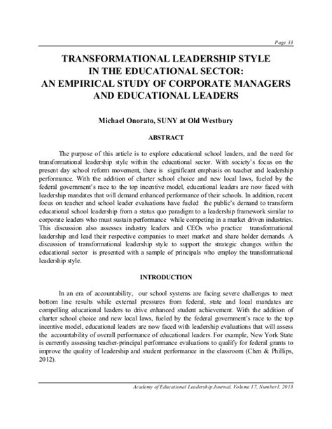 transformational leadership research paper transformational leadership style