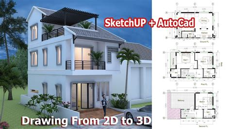 home design 3d vs sketchup house drawing from 2d to 3d using sketchup autocad step