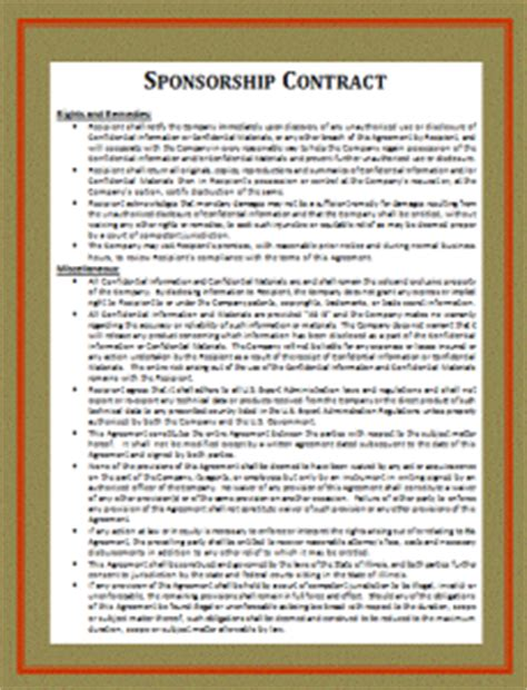 Athlete Sponsorship Contract Free Word S Templates Athlete Contract Template