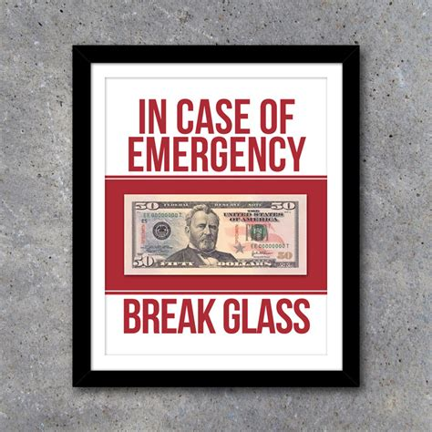 in case of emergency break glass printable art humorous home