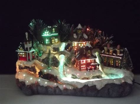 avon fiber optic color changing christmas village town