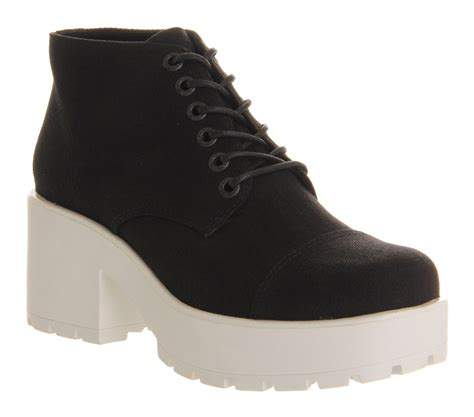 womens vagabond dioon lace up boot black white sole canvas