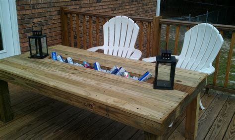 Patio Table With Built In Cooler Outdoor Table With Built In Cooler Crafts