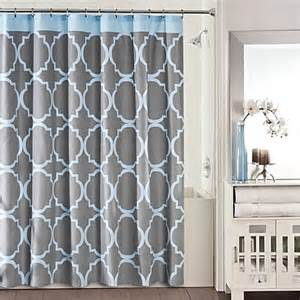 Blue And Grey Shower Curtains Studio 3b Fret Shower Curtain In Grey Blue Bed Bath Beyond