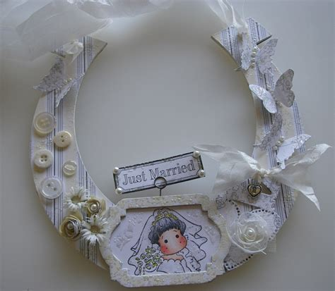 Handmade Wedding Horseshoes - handmade altered wedding horseshoe just married