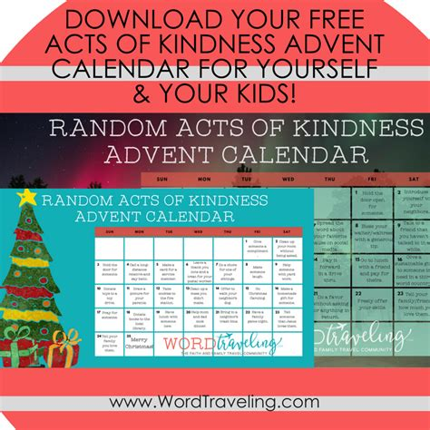 printable acts of kindness advent calendar free printable random acts of kindness advent calendar