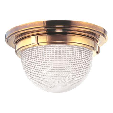 hudson lights shopping center industrial flushmount light brass winfield by hudson