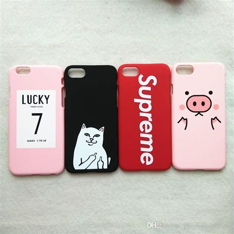 Iphone 7 Plus 7 Pink Pig Pastel Casing Hp for iphone 7 plus 3d kawaii pig pink lucky 7 cat matte cover for iphone7 plus 6 s 6s