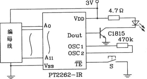 simple diagram of integrated circuit pt2262 ir and pt2272 infrared remote transmitter and receiver integrated circuit diagram
