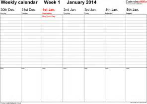 weekly calendar template 2014 excel weekly calendar 2014 uk free printable templates for word