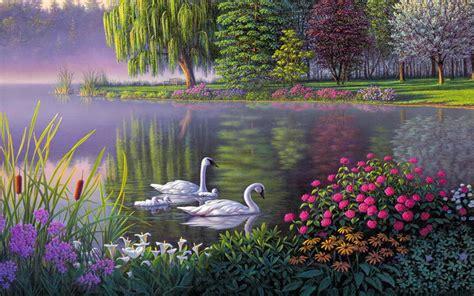 landscape swan lake trees flowers art wallpaper hd