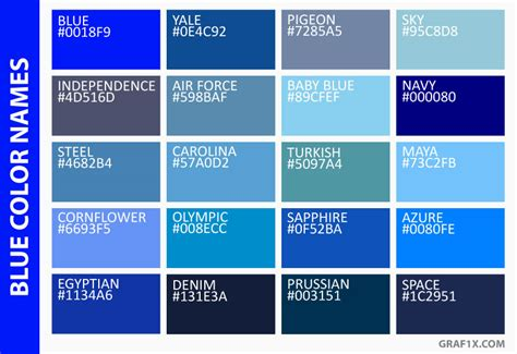shades of blue color names list of colors with color names graf1x com