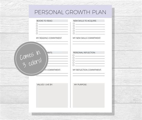 personal growth plan printable personal development