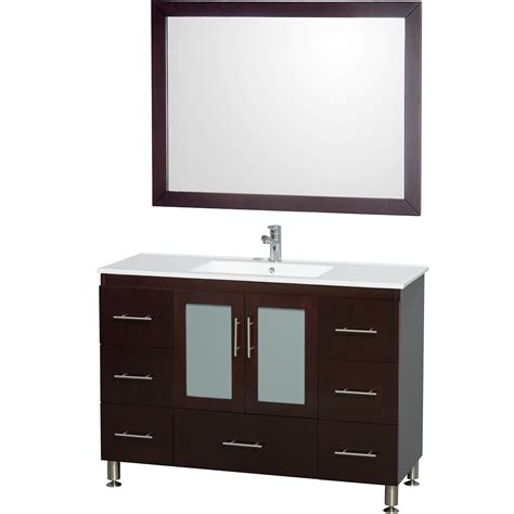 48 Inch Bathroom Vanity With Top Wyndham Collection Wcs100248eswh Katy 48 Inch Single Bathroom Vanity Espresso White Porcelain