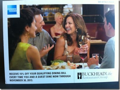 Buckhead Life Group Gift Card - get 15 off dining with american express through november 30th at buckhead life