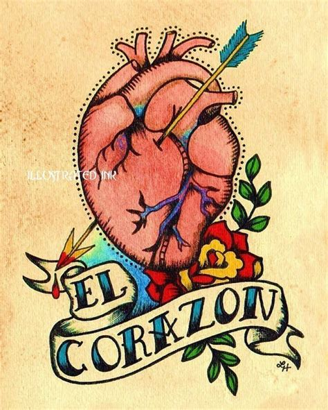 tattoo old school heart old school tattoo heart el corazon loteria print 5 x 7 8 x 10
