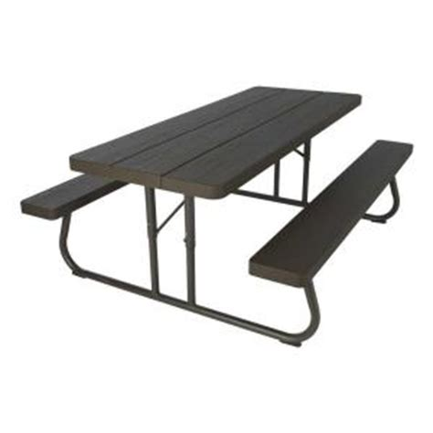 lifetime wood grain folding picnic table 60105 the home
