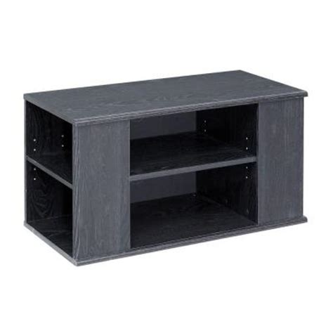 6 Shelf Tv Stand talon 6 shelf laminate tv stand in black oak he102212n the home depot