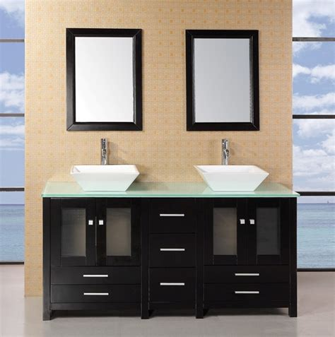 Pictures Of Bathroom Sinks And Vanities Adorna 61 Quot Sink Bathroom Vanity Set Solid Wood Cabine Listvanities